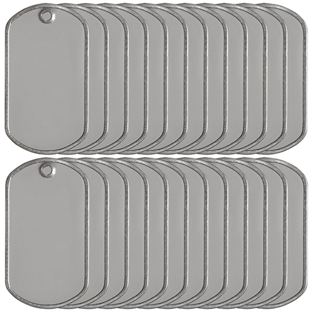 Blank matte stainless steel dog tags sold in bulk at low factory direct prices. We know dog tags because we make the dog tag chains for the US Military.