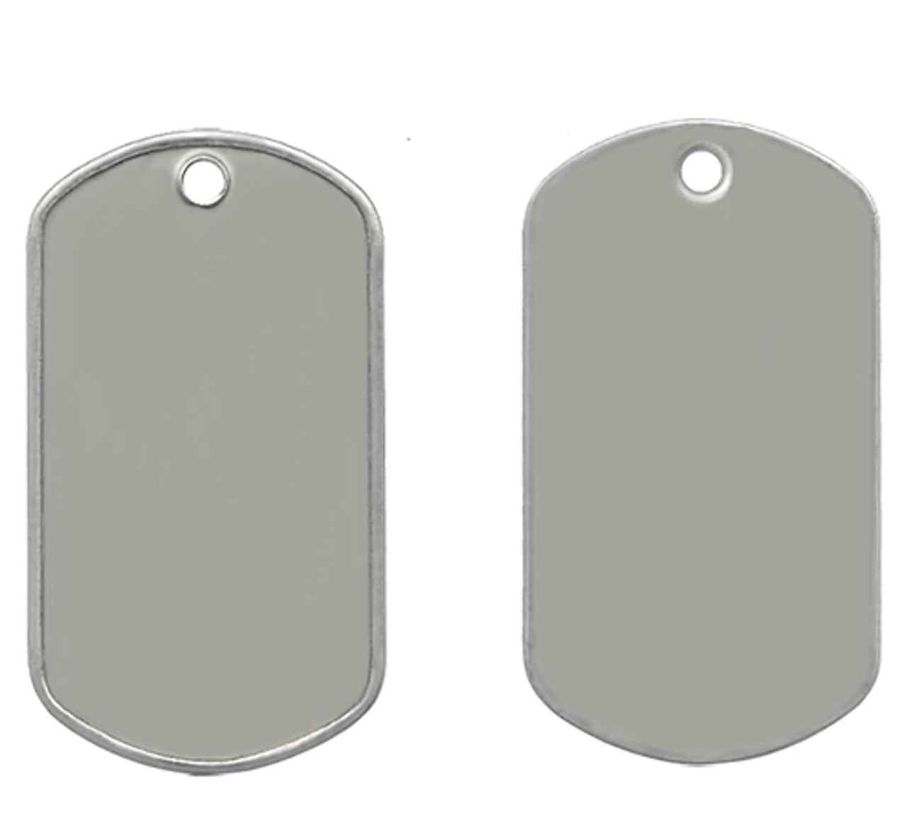 Front and back picture of the blank matte stainless steel dog tags. These dog tags are made of 100% durable stainless steel and are similar to the ones worn by the United States military and other armed forces around the world.