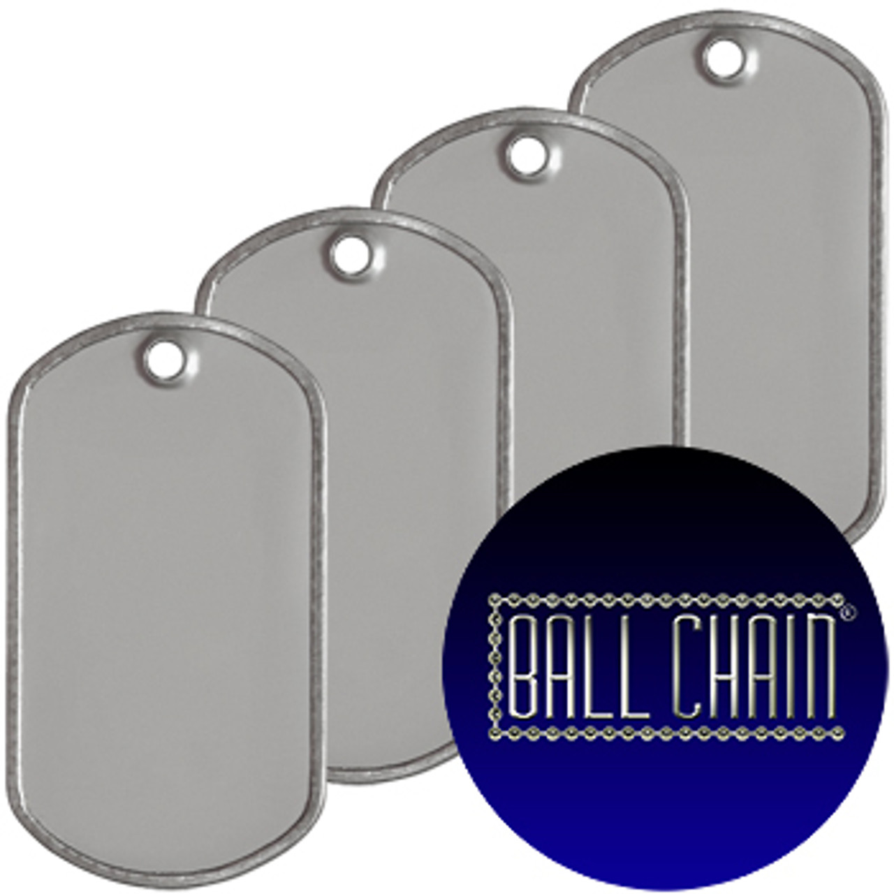 Blank Dog Tags - Rolled Edge Stainless Steel - Matte Finish (grey). Military style.