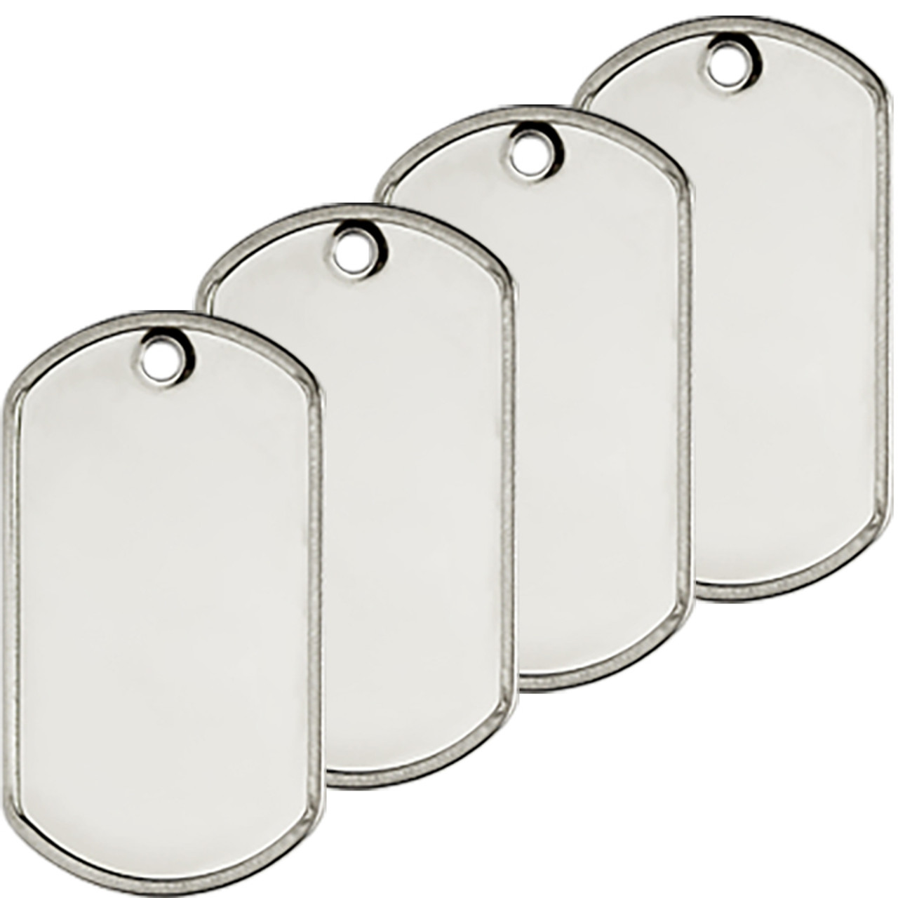 Standard blank rolled edge stainless steel military dog tags with a shiny finish.