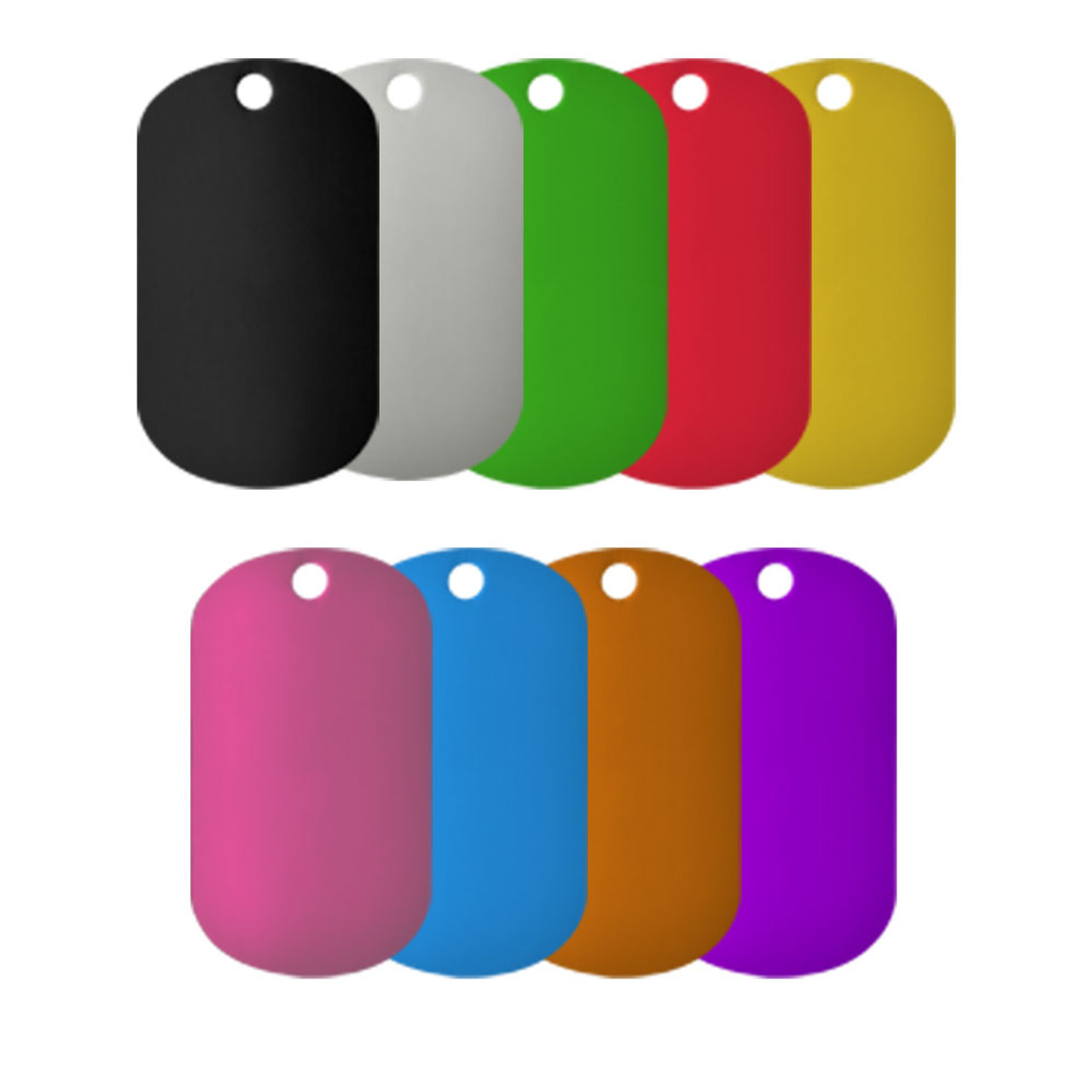 Anodized Aluminum Color Dog Tags (1.5 mm thick) sold in various colors. This image shows all of the colors available to purchase. These specific dog tags are sold as blanks and can be laser engraved.
