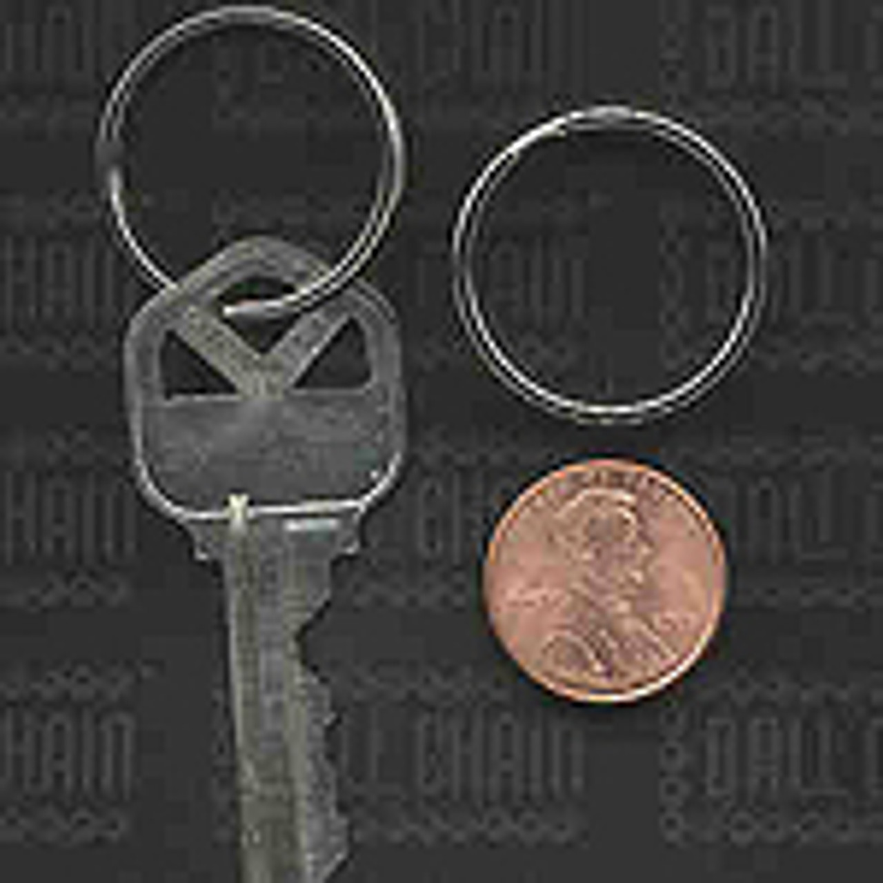 24mm nickel plated split ring perspective photo comparing the size of the key ring to a key and a united states penny.
