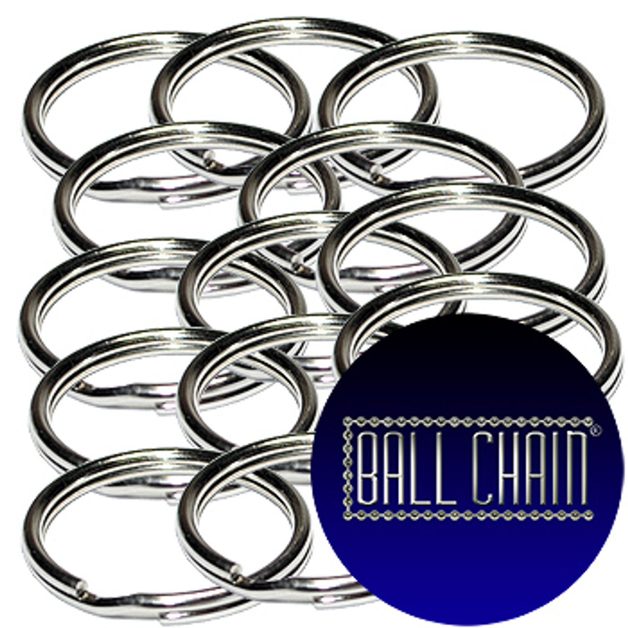 39mm or ~ 1.5 inch Nickel Plated Steel Split Key Rings are sold in bulk at low wholesale prices.