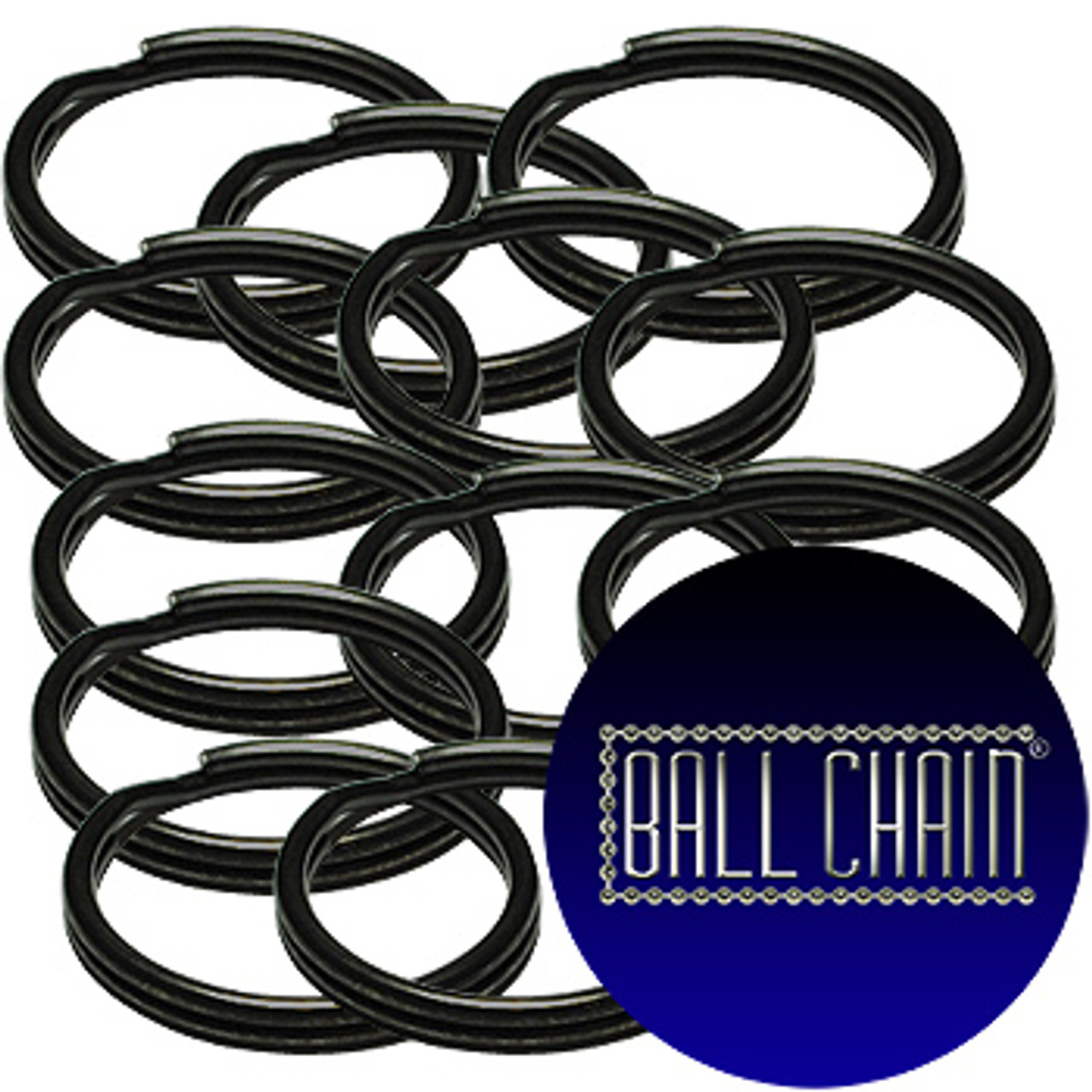 28mm (1 Inch) Black Split Key Rings