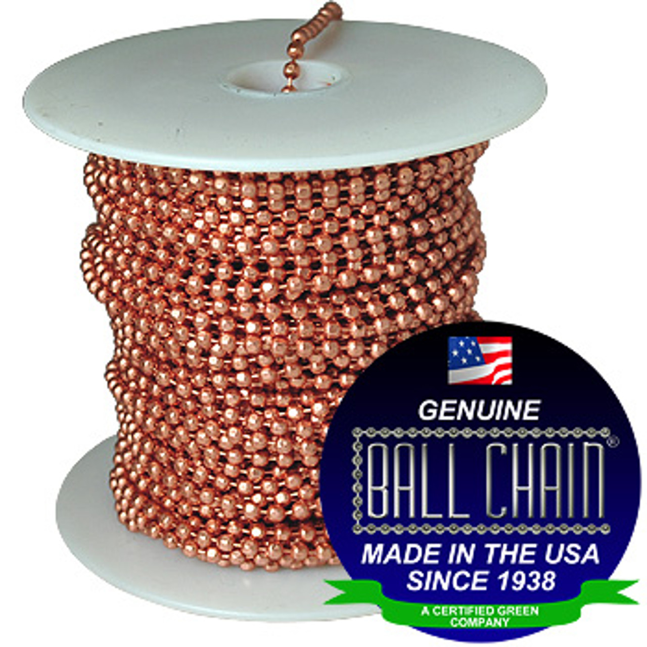 """#6 faceted style ball chain on a white plastic spool with the Ball Chain Manufacturing seal stating """"Made In The USA Since 1938"""" and """"Certified Green Business."""""""