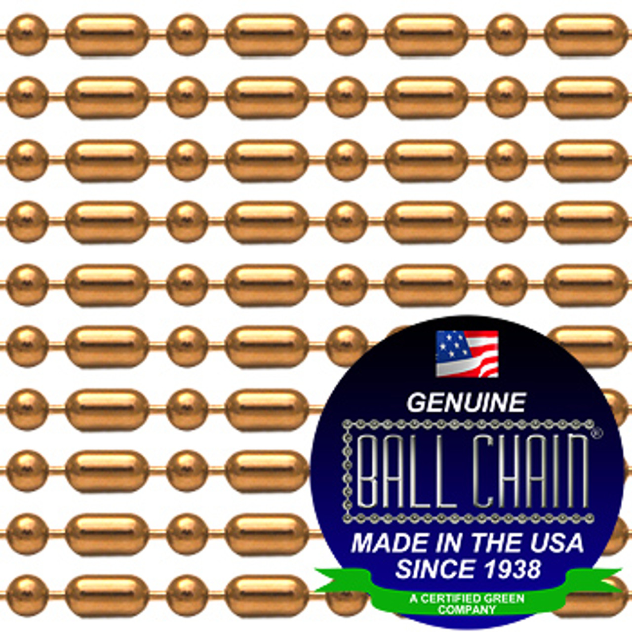 """#6 Copper Ball-Bar Style Ball Chain Spool with Ball Chain Manufacturing seal stating """"Made In The USA Since 1938"""" and """"Certified Green Business""""."""