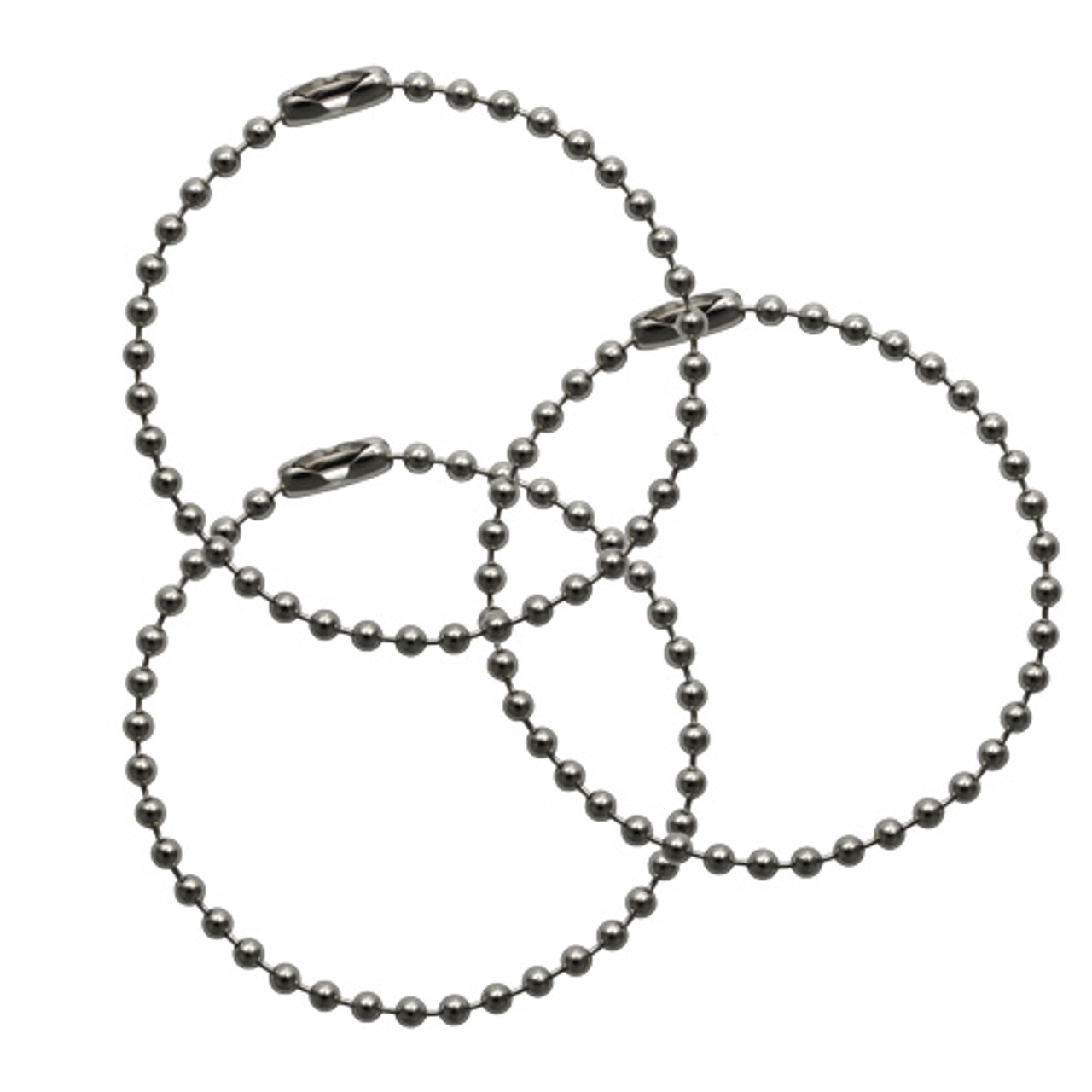 #3 (2.4mm diameter) 4.5 inch stainless steel ball chain keychains. The chains is 2.4mm diameter. Great value when purchased in bulk at factory direct prices. No company seal.