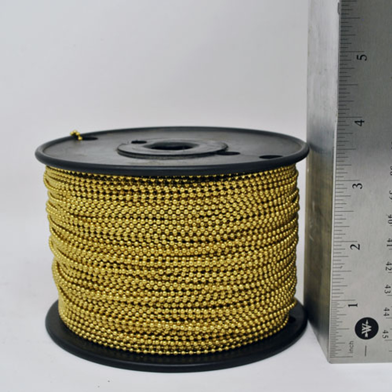 500 Feet of #3 or 2.4mm diameter yellow brass bead chain/ball chain on a spool. These rolls of yellow brass ball chain are the most cost effective way to purchase this style/material of bead chain.