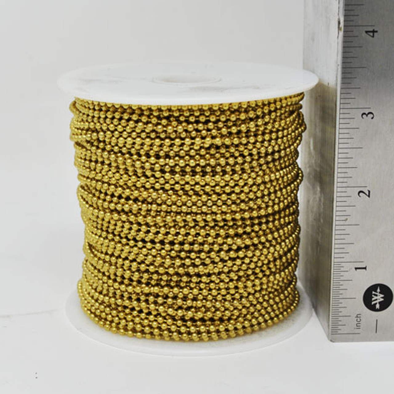 #3 or 2.4mm diameter yellow brass ball chain spool with a length of 250 feet. This is common size for crafter's and non industrial purchasers.