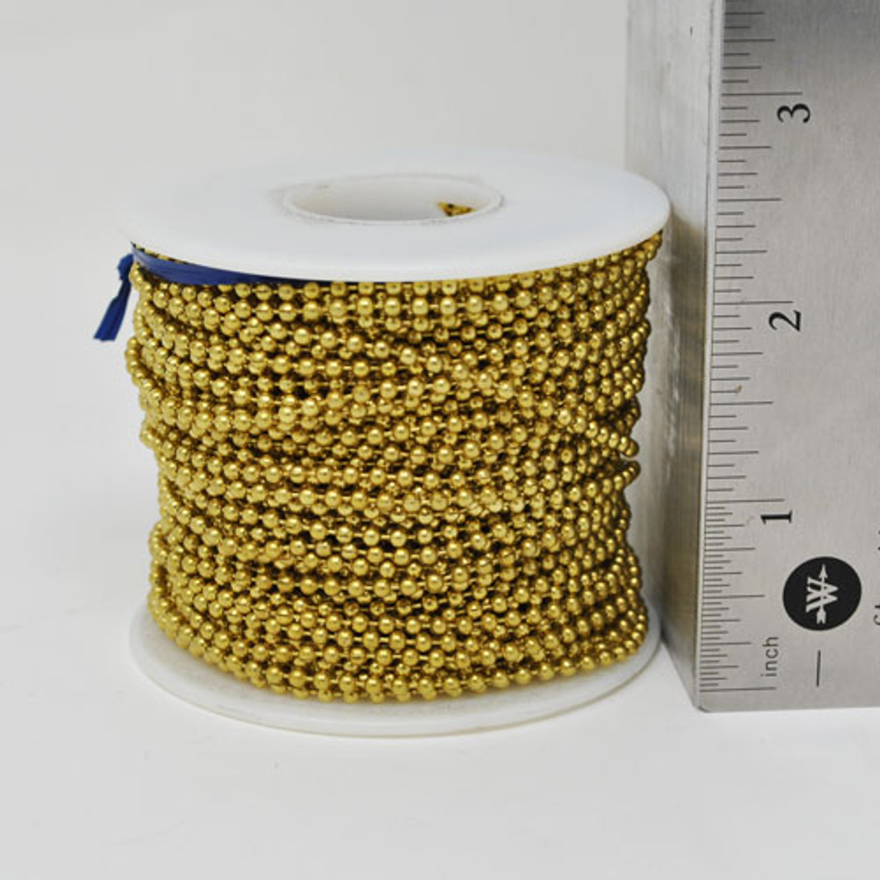 100 Feet of #3 or 2.4mm diameter yellow brass ball chain spool. Great length ball chain roll for crafters and DIYers.