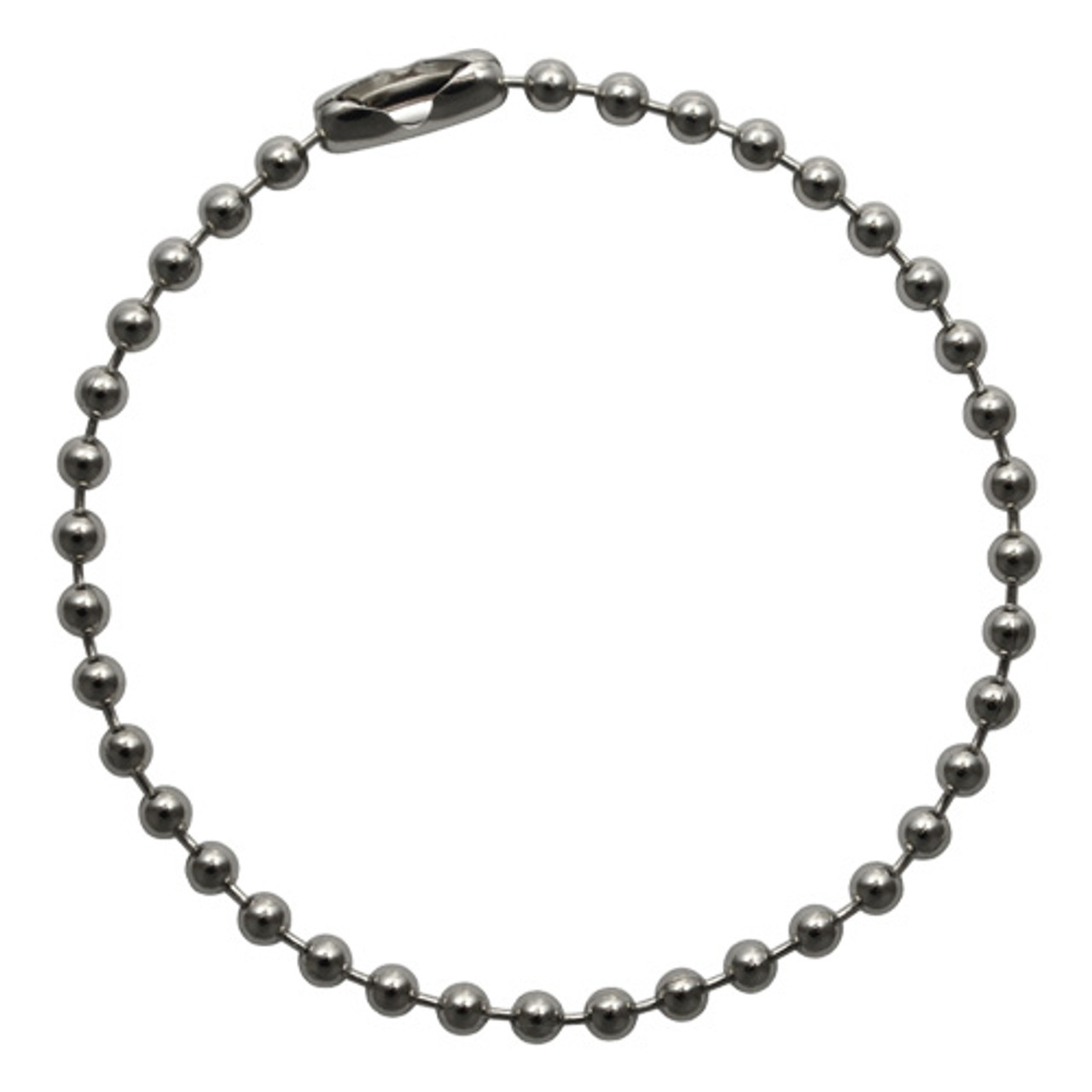 A single 4.5 inch long #3(2.4mm diameter) stainless steel ball chain key chain. Sold in bulk at low factory direct prices. Made in the USA since 1938.