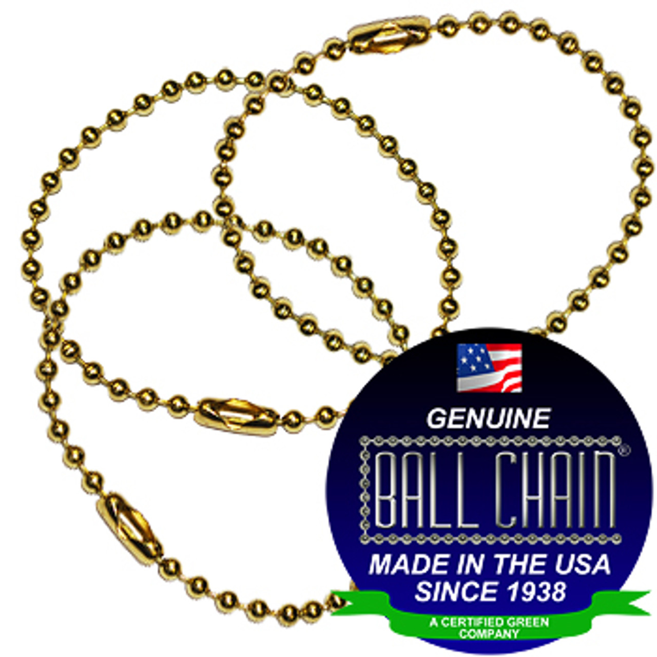 #3 Brass Plated Steel Key Chains - 6 Inch Length