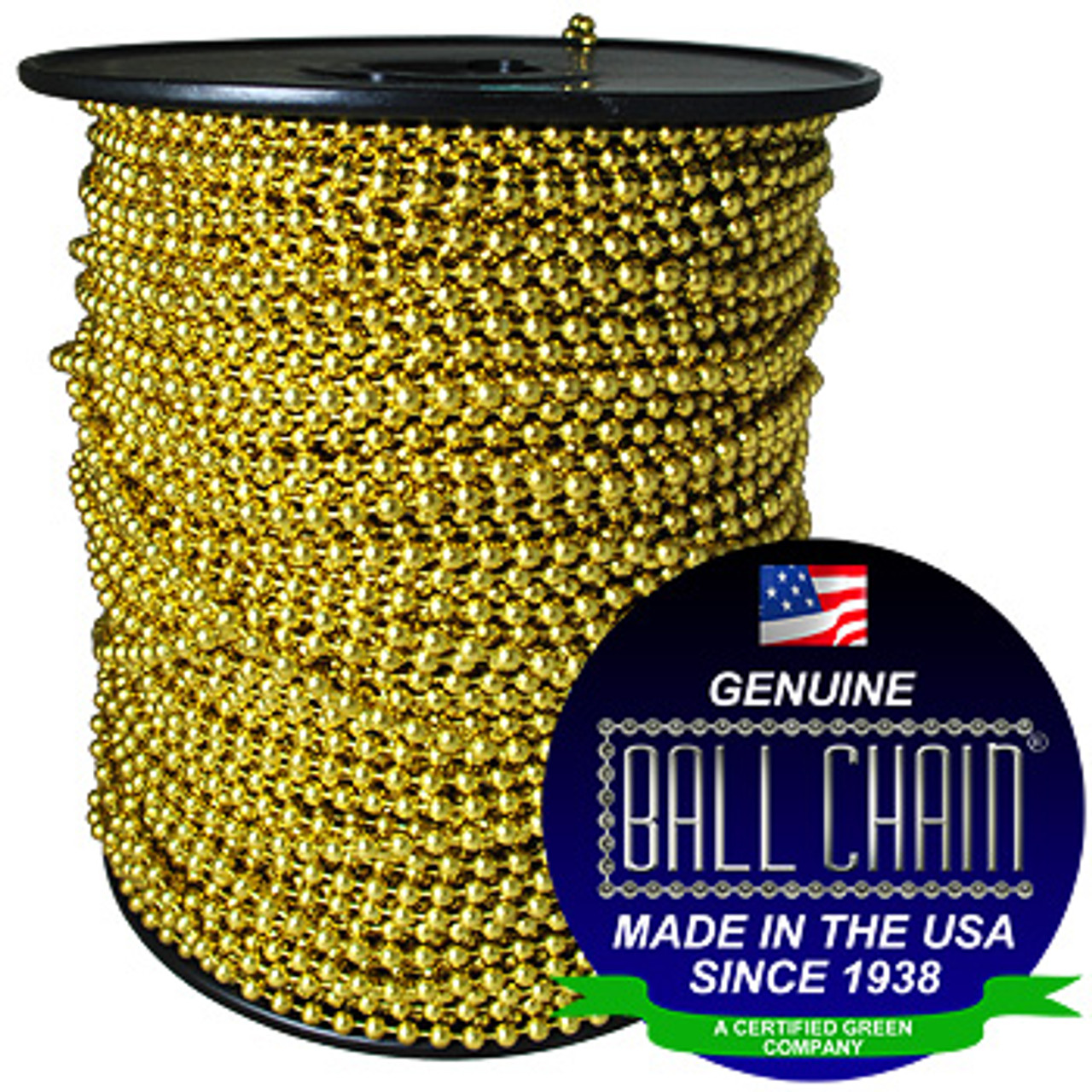 """#8 Yellow Brass Ball Chain Spool with Ball Chain Manufacturing Seal stating """"Made in the usa since 1938"""" and """"certified green business""""."""