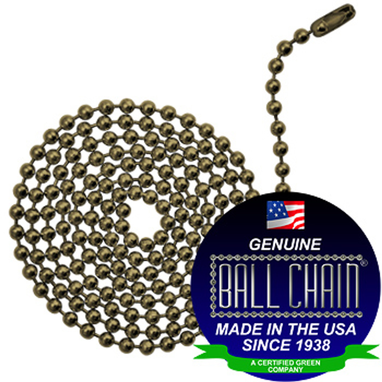 #6 Ball Chains Pre-Cut Three Foot Length Antique Brown