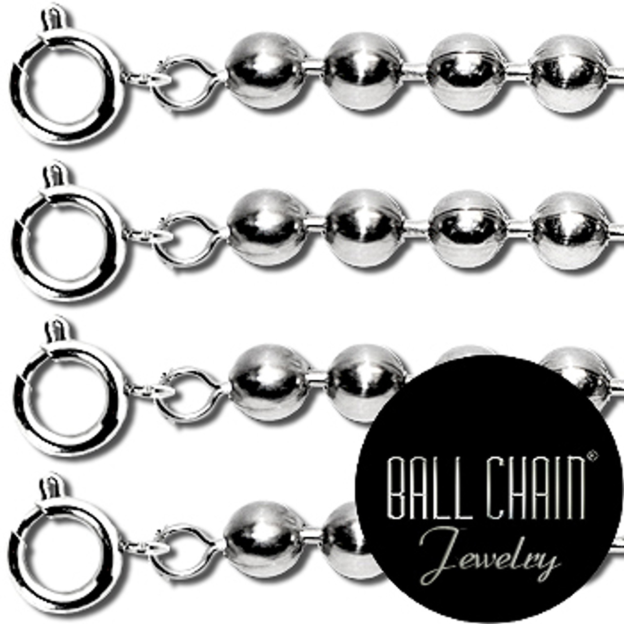 2.1mm Sterling Silver Ball Chains with Spring Ring - 24 Inch Length