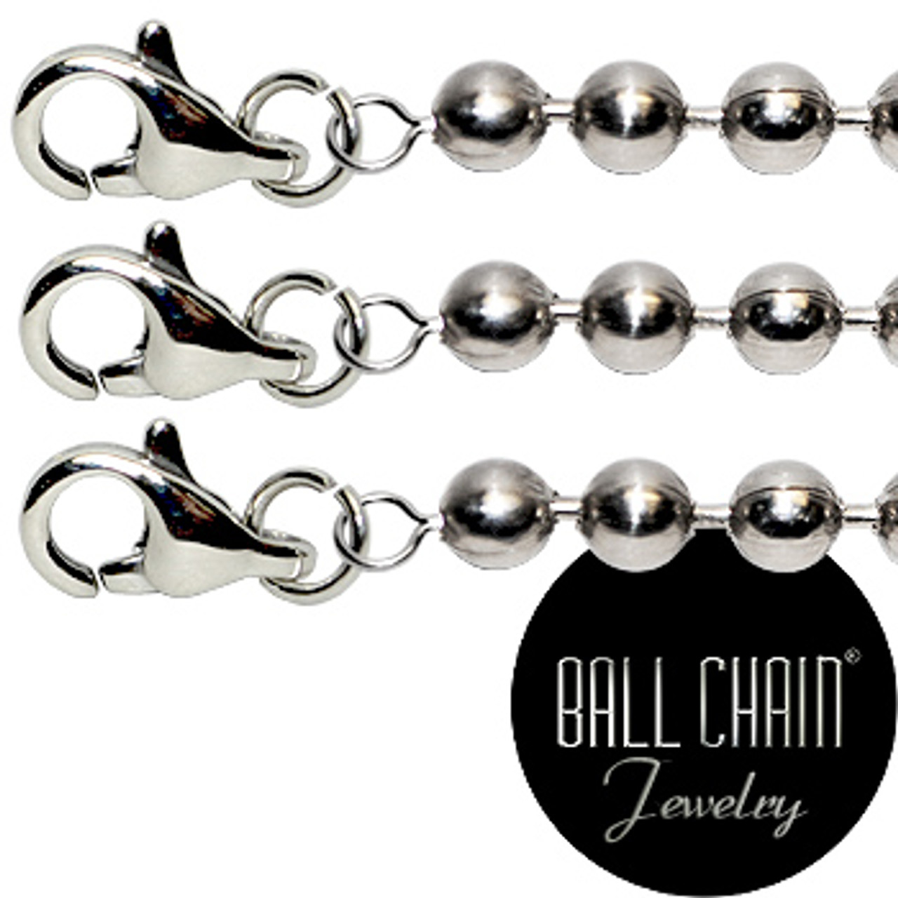 #6 Nickel Plated Brass Ball Chains with Lobster Claw - 16 Inch Length