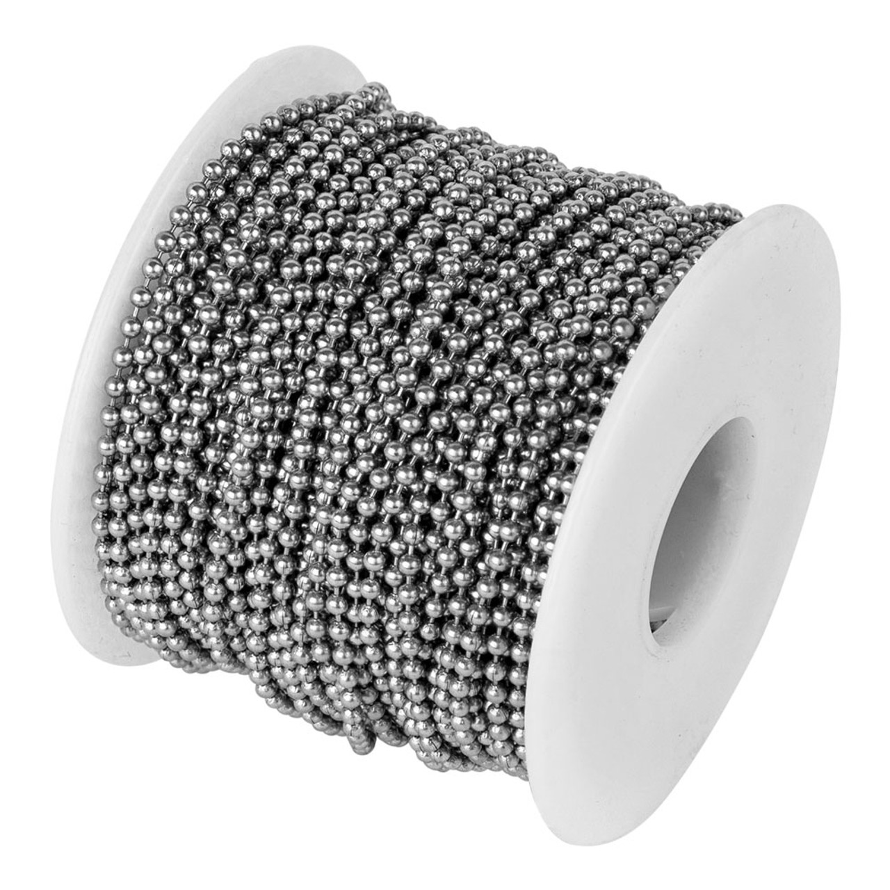 #3 Stainless Steel Ball Chain Spool made in the USA. These rolls of 2.4mm diameter stainless steel bead chain are the best way to purchase this chain at low factory direct prices. They come in lengths of 100 feet to 5000 feet and if you need more just ask.