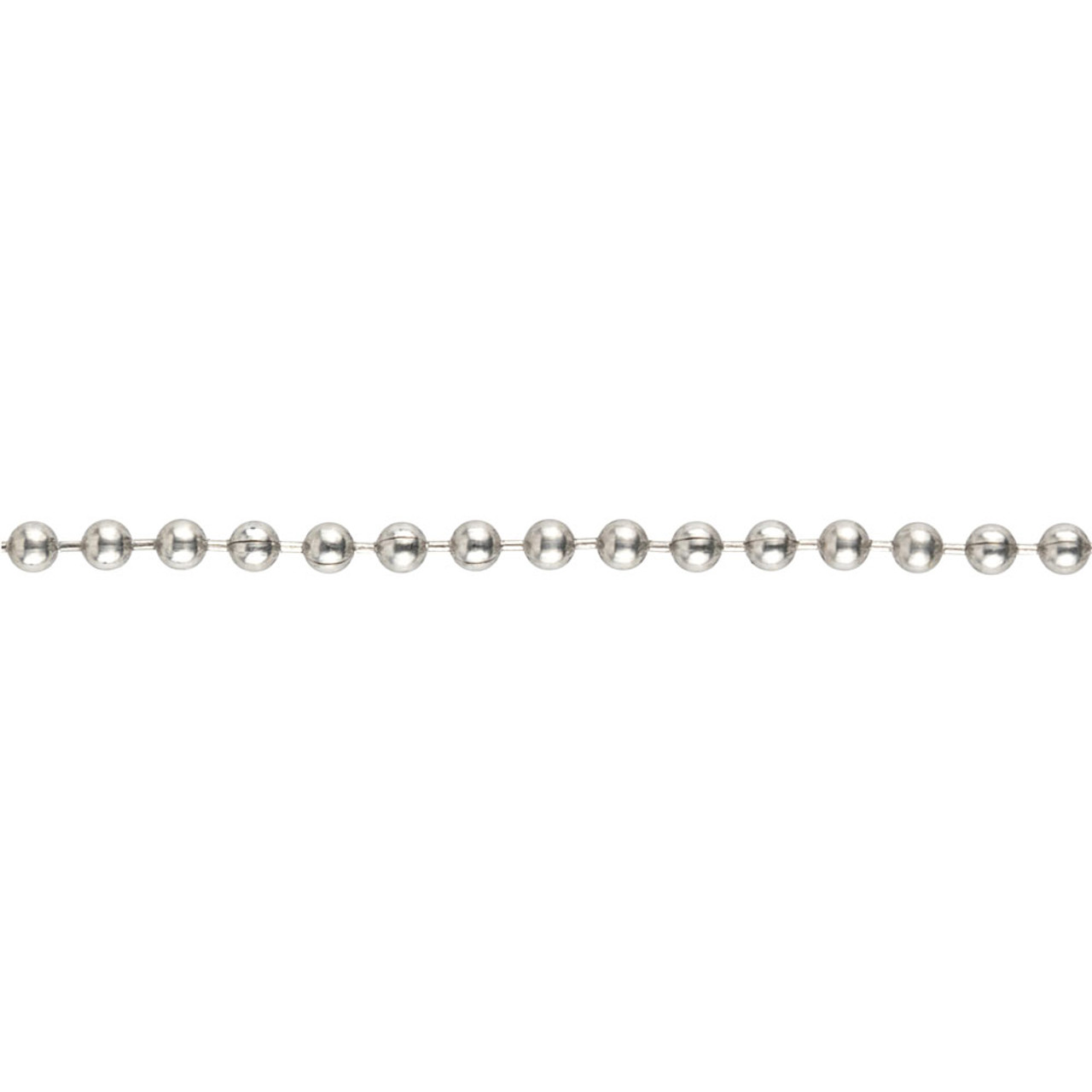 A strand of #3 stainless steel ball chain that shows the chain structure up close.