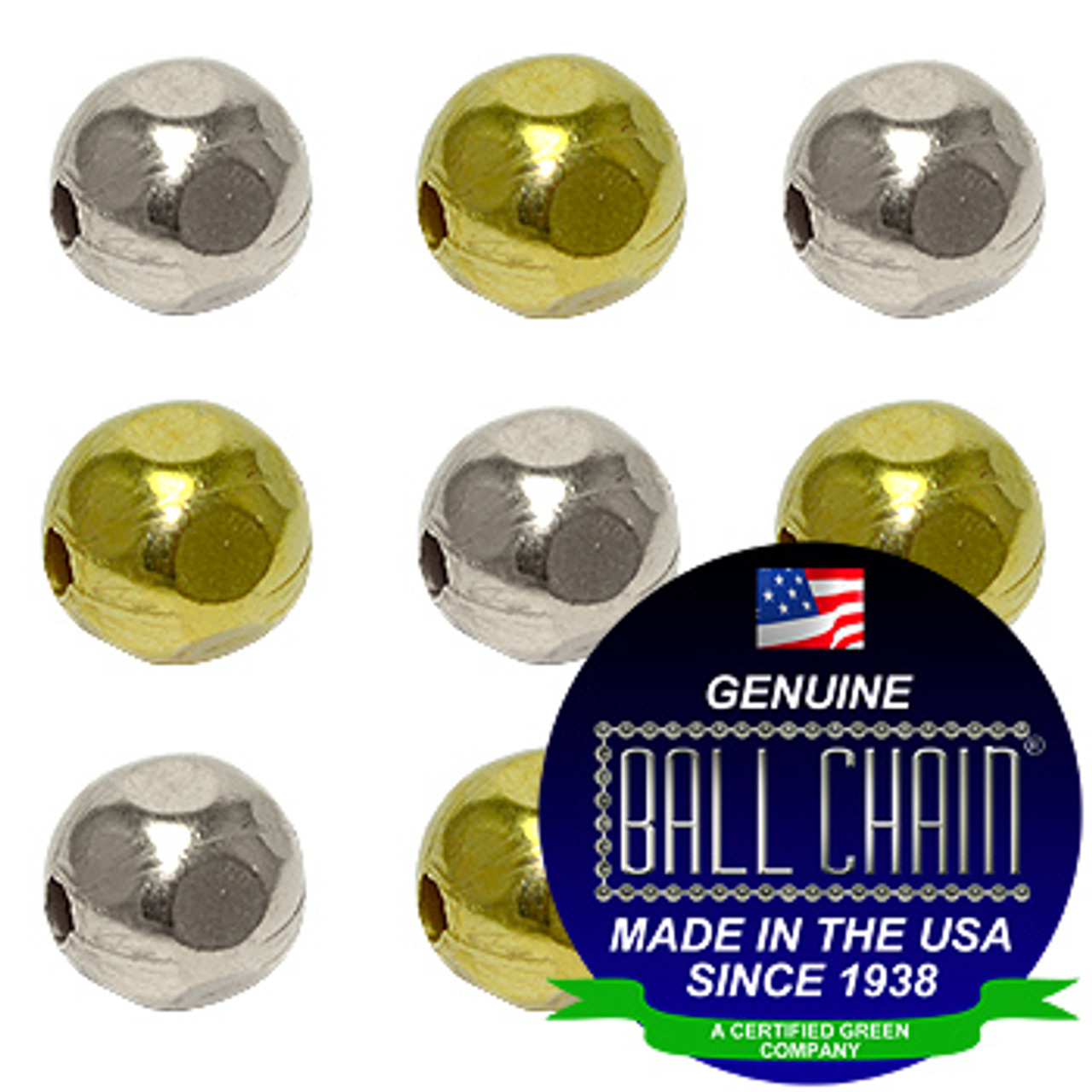 9.5mm Faceted Metal Beads - Nickel Plated Brass, Yellow Brass, or Gilding Metal