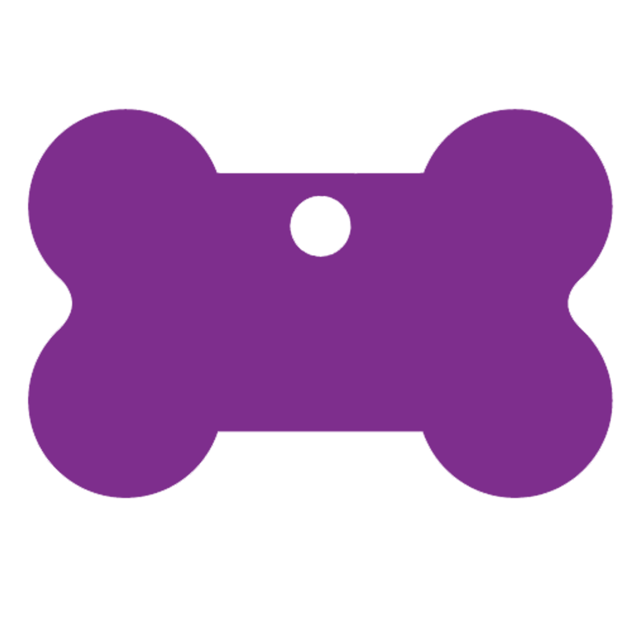 Purple bone shaped pet dog tag made of anodized aluminum. This tag is commonly purchased by pet stores, animal shelters and government organizations.