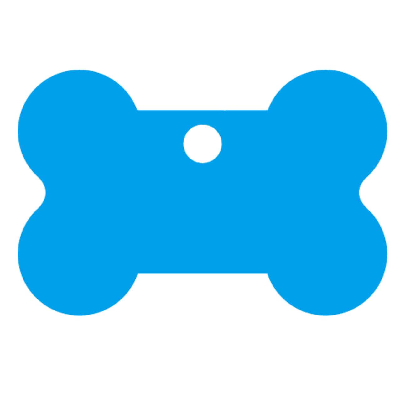 Blue blank bone shaped pet dog tag made of anodized aluminum. This tag is commonly purchased by pet stores, animal shelters and government organizations.