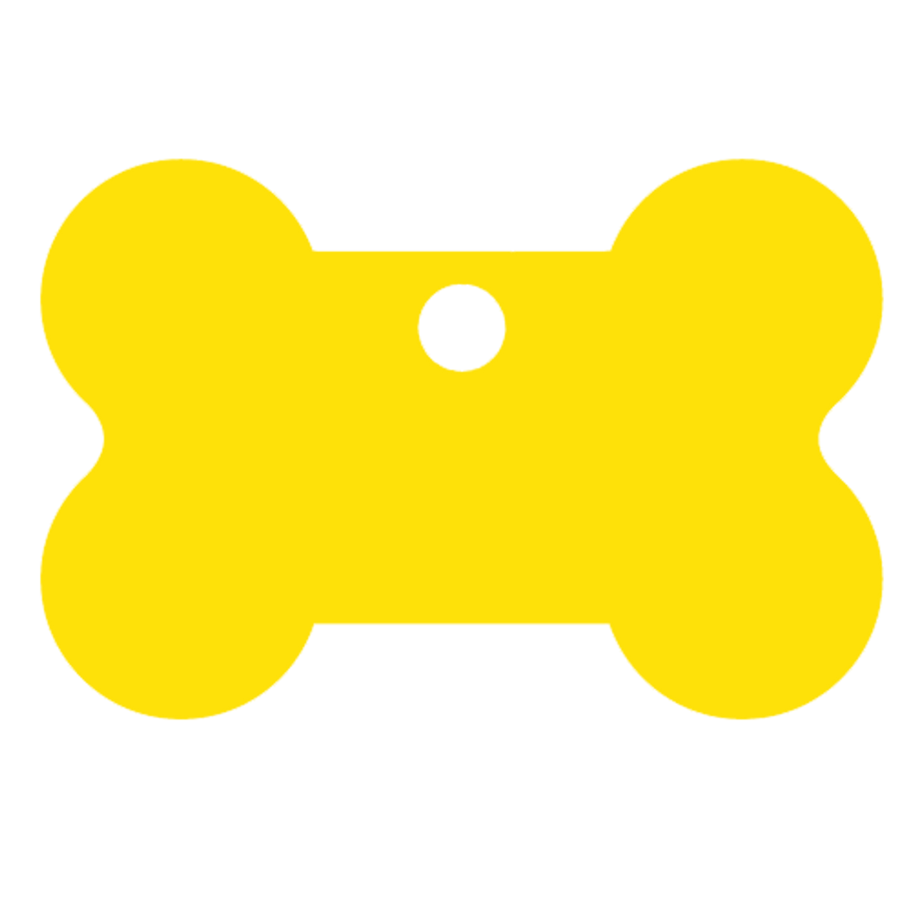 Yellow blank bone shaped pet dog tag made of anodized aluminum. This tag is commonly purchased by pet stores, animal shelters and government organizations.