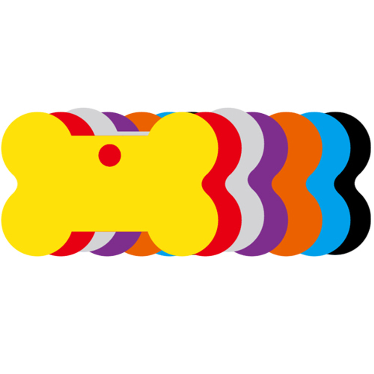Variety picture of our anodized aluminum blank dog id tags that are in the shape of a bone. This picture shows the variety of colors that we offer to our customers.