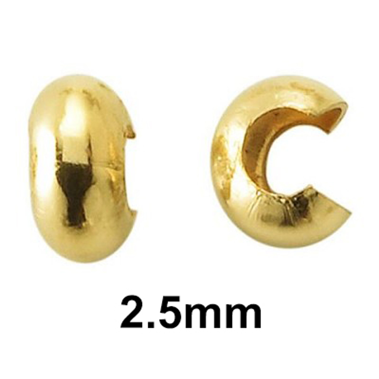 2.5mm 12k gold filled crimp covers aka open balls. Perfect for the DIYer and custom jewelery maker.