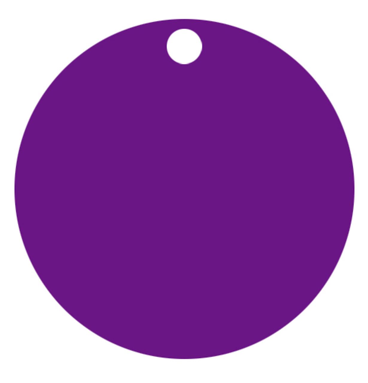 Purple Anodized Aluminum 1.5 inch Circle Tag