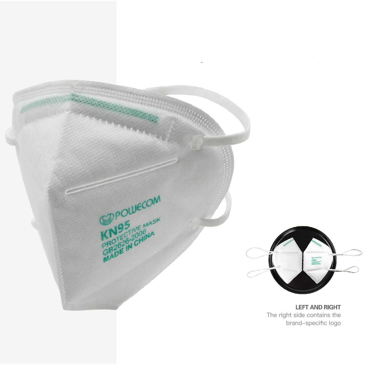 Powecom KN95 face mask distributed by Bona Fide Masks and Ball Chain manufacturing. This is the headband style FDA Authorized  version of the mask. It is white with the Powecom Green lettering and nose clip.