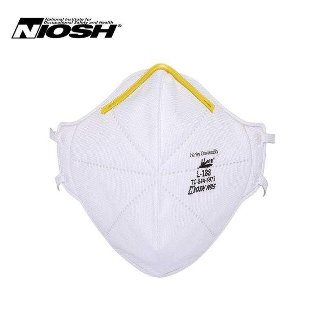 Harley Commodity N95 face mask with the NIOSH logo. This image is taken from the front.