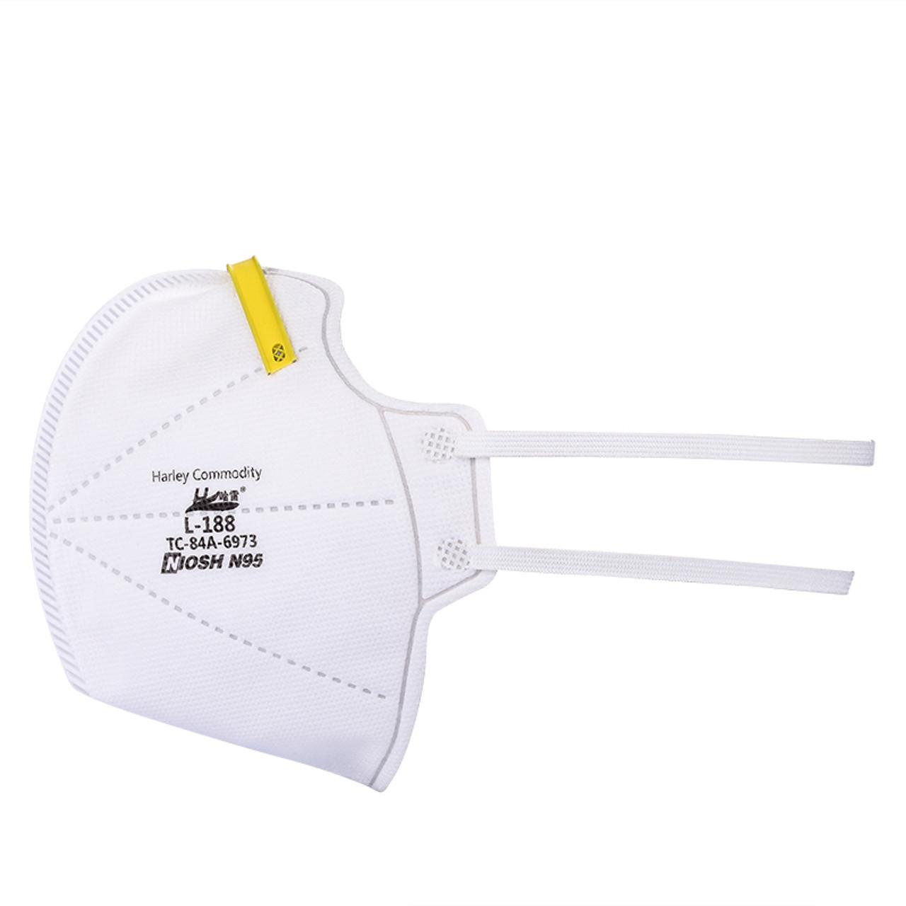 Harley Commodity N95 Respirator Face Mask   L-188   NIOSH Approved   20 masks per box