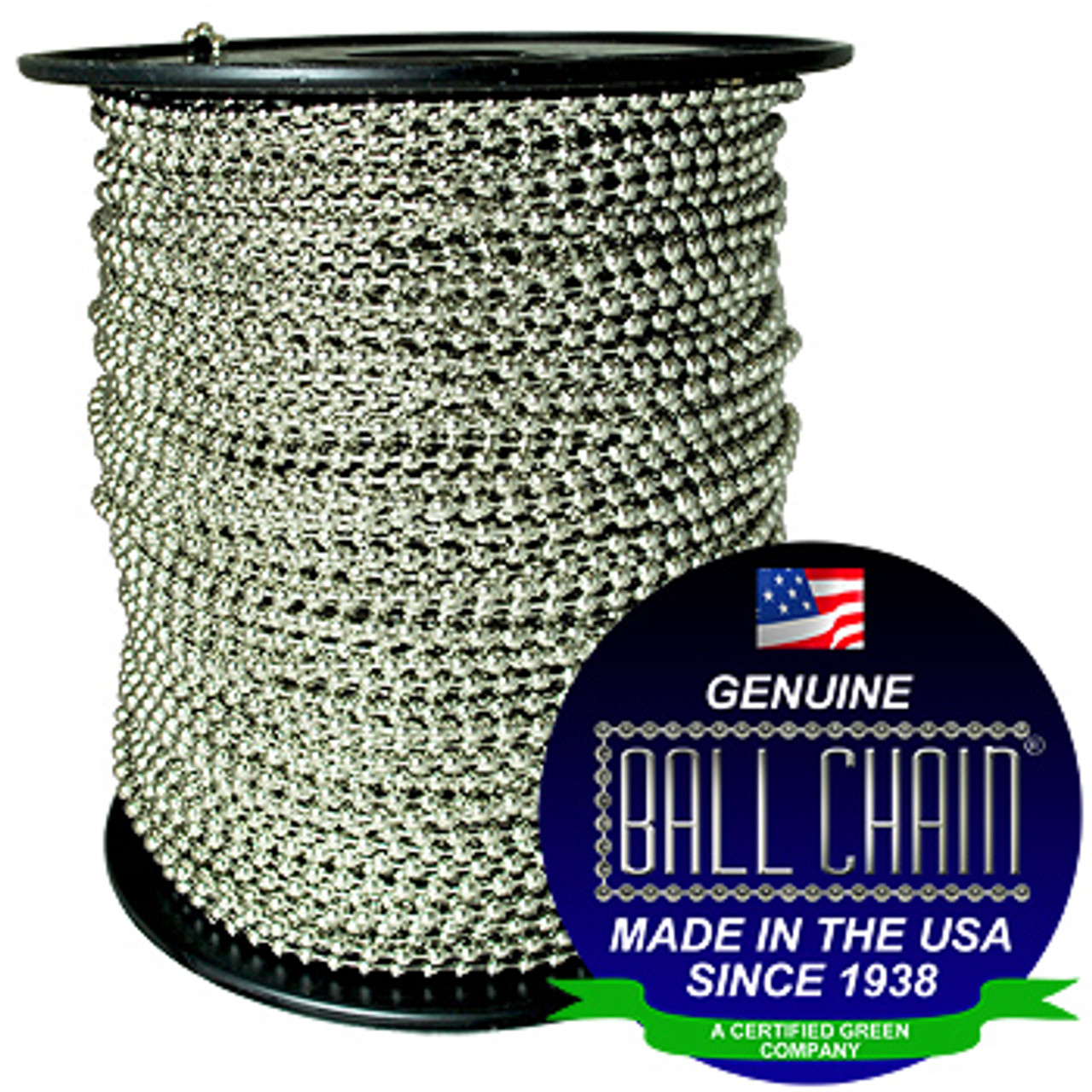 #15 Nickel Plated Brass Ball Chain, bead chain, or beaded chain spool or roll. The ball chain watermark/seal is located on the bottom right of this product image.
