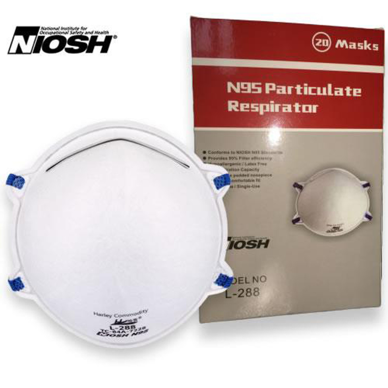 Harley L288 N95 face mask with box. This n95 mask is a cup/molded style face mask that is used to filter our airborne particles .3 microns and larger. It is rated by NIOSH to filter our 95% or more of those airborne particles.