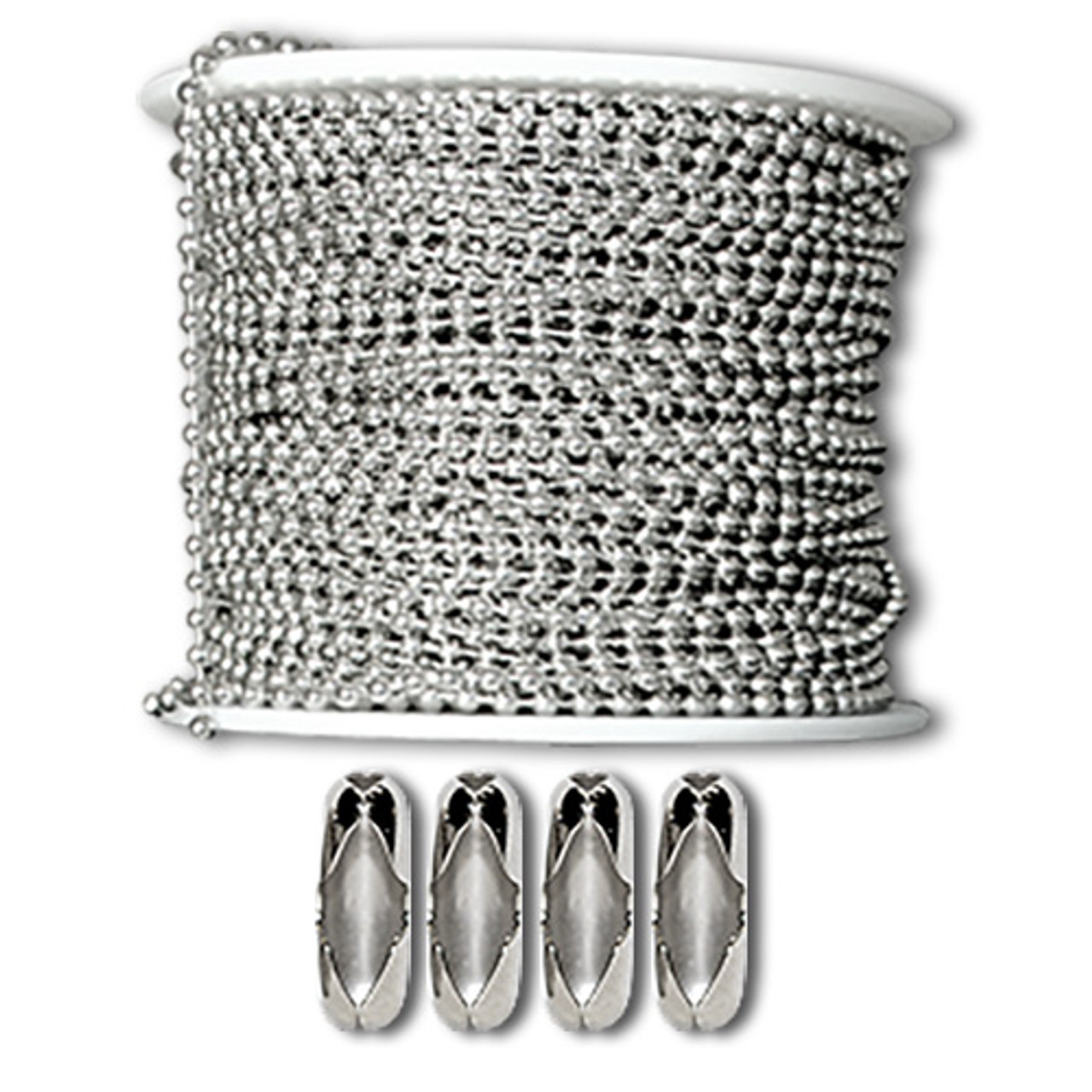 1.8mm diameter sterling silver ball chain / bead chain used for jewelry crafting and other diy applications. Made in the USA and sold at low factory direct prices.