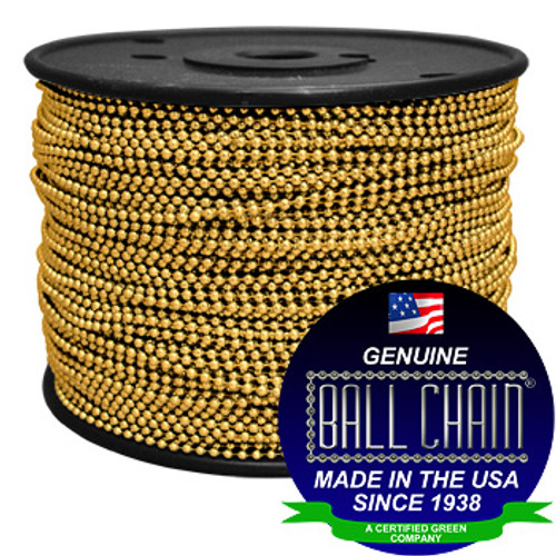 #3 Gilding Metal Ball Chain Spool with the ball chain logo and green business seal.
