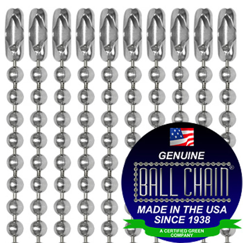 "#3 Aluminum Ball Chains with Connector - 24 Inch Length and Ball Chain Manufacturing seal stating ""made in the USA since 1938"" and ""certified green business."""