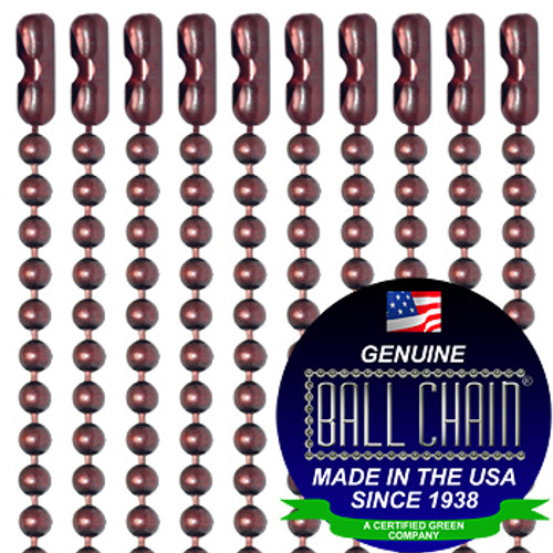 #3 Mystic Red Finish Ball Chains with Connector - 27 Inch Length
