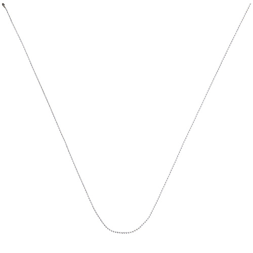 30 inch aluminum ball chain neck chain with a #3 size bead/ball diameter. Unclasped and in a v shape.
