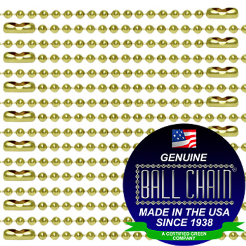 #3 Brass Plated Steel Ball Chains with Connector - 30 Inch Length (100 Per Bag)