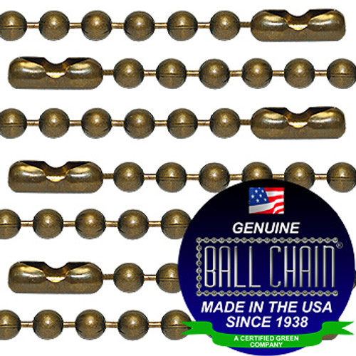 #3 Medieval Brass Finish Ball Chains with Connector - 30 Inch Length