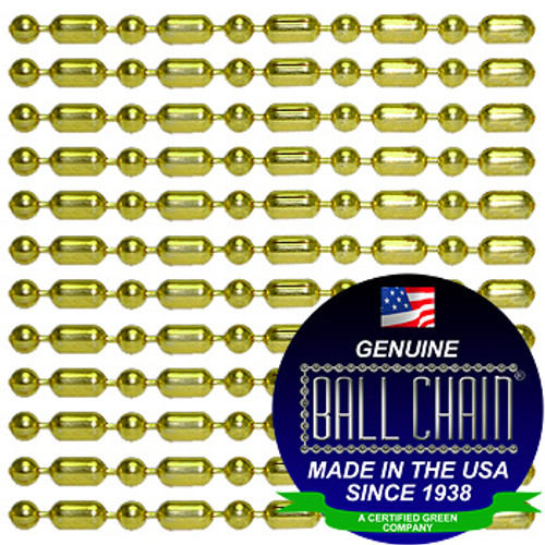 #3 Brass Plated Steel Ball-Bar Style Ball Chains with Connector - 38 Inch Length
