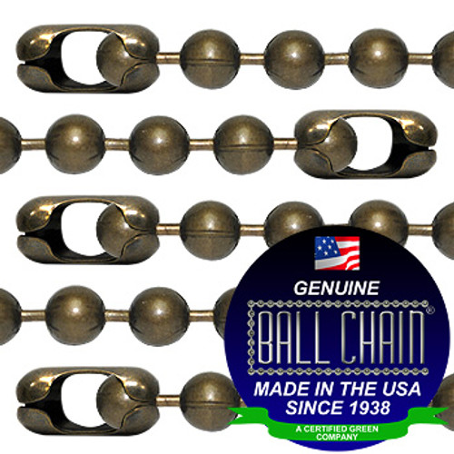 #20 Medieval Brass Finish Ball Chains with Connector - 8 Inch Length