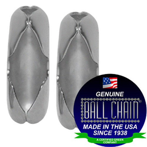 "two #3 Aluminum ball chain Connectors with Ball Chain Manufacturing seal stating ""Made in the usa since 1938"" and ""certified green business."