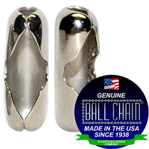 """Two #6 Nickel Plated Brass Connectors with Ball Chain Manufacturing seal stating """"Made in the usa since 1938"""" and """"certified green business""""."""