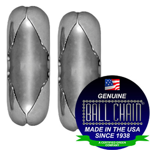 "Two #6 Stainless Steel Ball Chain Connectors with Ball Chain Manufacturing seal stating ""Made in the USA since 1938"" and ""certified green business""."