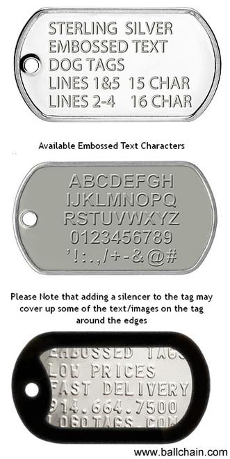 50dc3f7c74c5 Custom Military Dog Tags | Embossed Text | Ball Chain Mfg