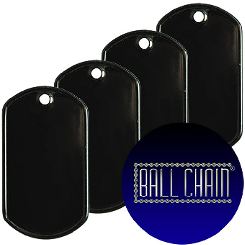 Blank black dog tags that are the standard military spec size. Sold in bulk at low wholesale prices.