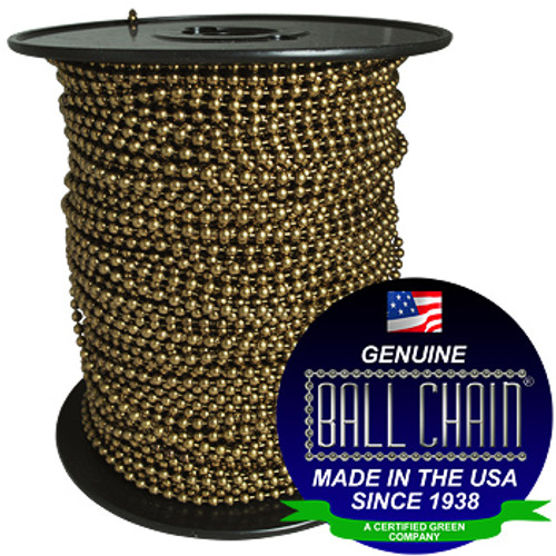 """#6 medieval brass ball chain on a black plastic spool with the Ball Chain Manufacturing seal on the bottom left stating """"Made In The USA Since 1938"""" & Certified green business."""