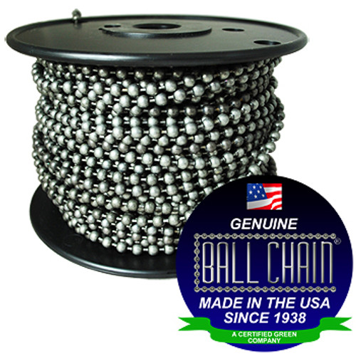 """#6 dungeon ball chain on black plastic spool with the Ball Chain Manufacturing seal stating """" made in the usa since 1938"""" and """"certified green business""""."""